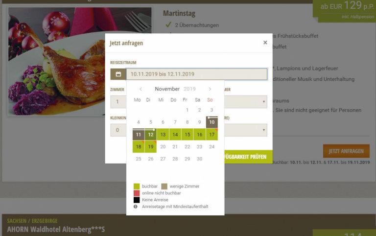 Direktbuchung von Angeboten mit hsForms - hier bei Ahorn Hotels