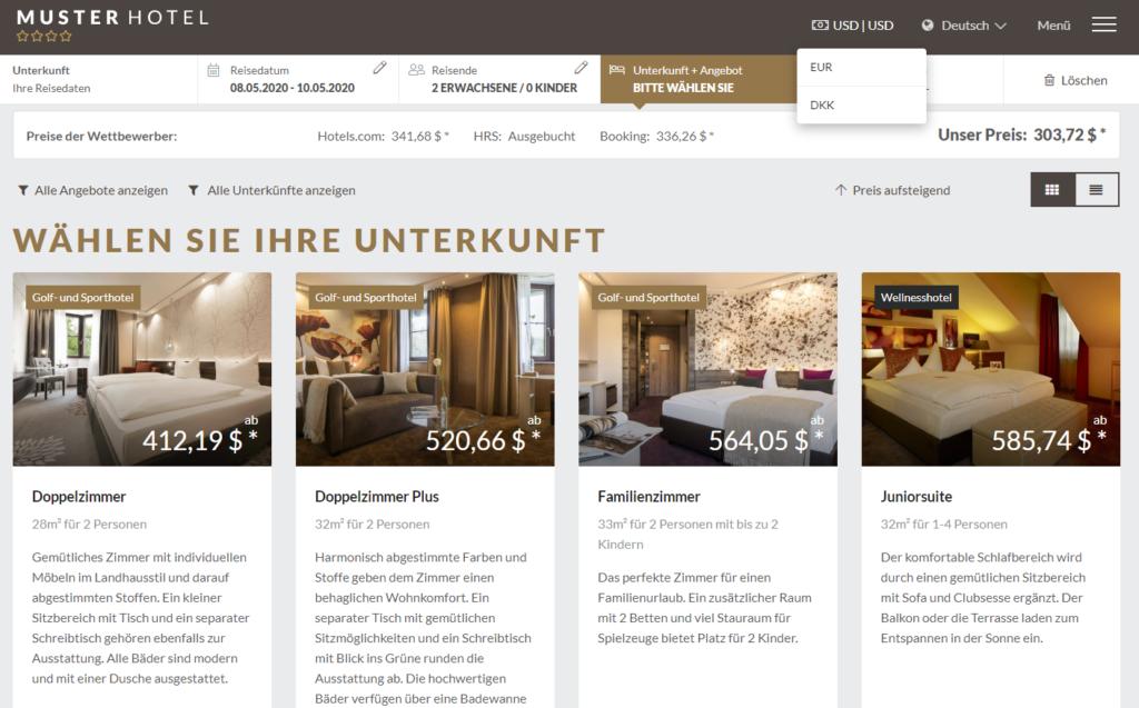 Hier sehen Sie die Funktion der Währungsumrechnung der Internet Booking Engine hotelsuite IBE