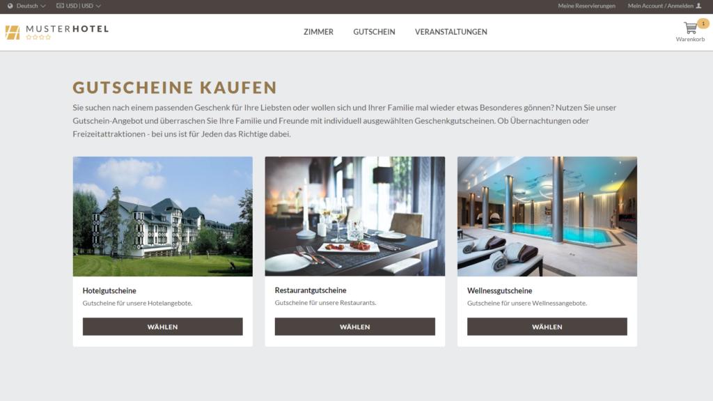 Kategorisierung von Gutscheinen in der hotelsuite IBE