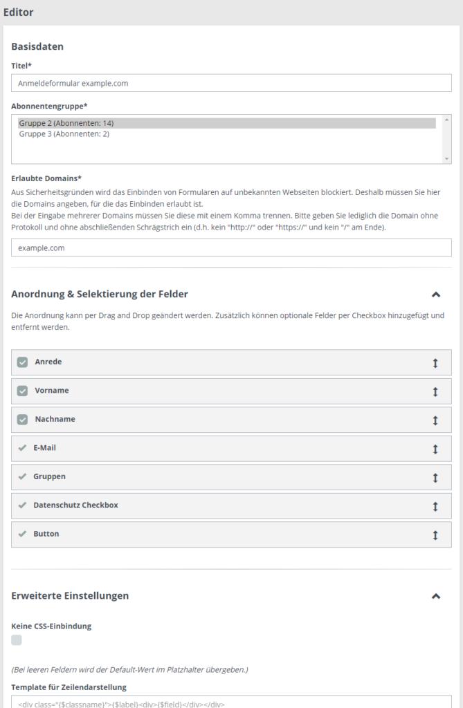 Anmeldeformulare für Newsletter einfach erstellen